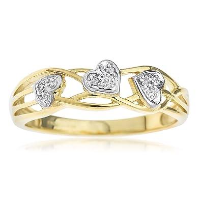 Très belle Bague de 9 carats en or jaune et diamant avec trois cœurs