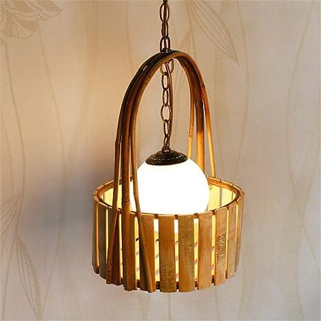 E27 creativo hecho a mano de bambú tejido araña café bar ...