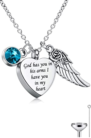 Cat Eye Jewels Memorial Cremation Urn Necklace Keepsake Angel Wing Heart Pendant Ash Holder Necklaces for Ashes for Men Women with Funnel Kit