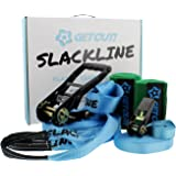 Get Out! Slackline Beginner Kit for Kids and Adults – Classic Slackline with Training Line Complete Kit