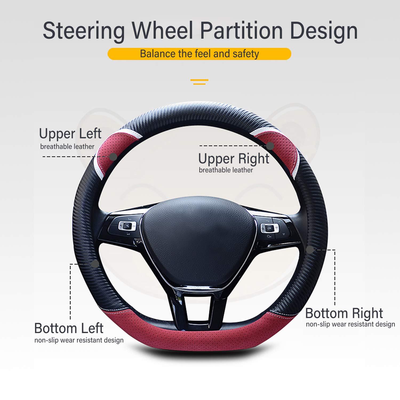 Ergocar Coprivolante per Auto Antiscivolo Protezione per Volante Auto D-Forma Fibra di Carbonio Universale per Diametro 38 Cm D-Nero Rosa 15