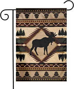 Rustic Lodge Bear Moose Deer Garden Flags Home Indoor & Outdoor Welcome Decorations,Waterproof Polyester Yard Decorative for Game Family Party Banner
