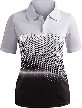 CLOVERY Women's Active Wear POLO Shirt Short Sleeve Dot Pattern