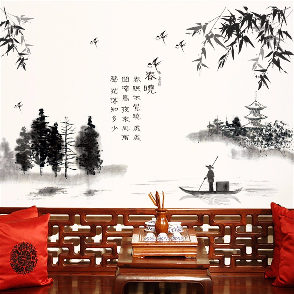 Wall Stickers Wall Sticker Paper Study Room Office Chinese Style Ink Painting Landscape Ancient Poetry Wall Decoration 6090CM
