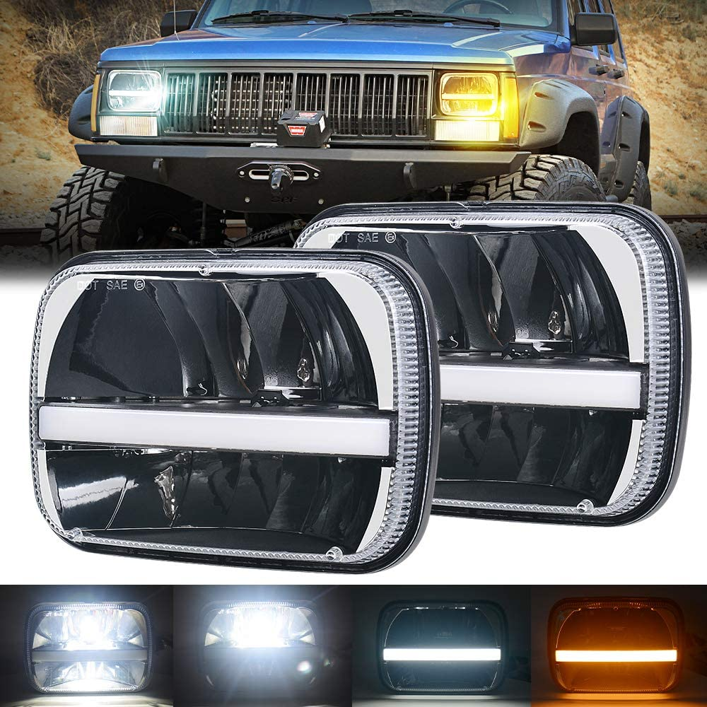 Lusgwufad H6054 7x6 5x7 Halo Square LED Headlight with High/Low Beam White DRL & Amber Turn Signals Replacement for Jeep YJ Cherokee XJ H6054 6054 H5054 H6054LL 6052 6053