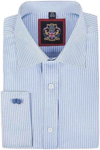 Windsor Camisa informal de rayas finas formal y Oxford con botones, manga individual y doble puño, S-XXXL, tela de fácil cuidado, formal o casual, ...