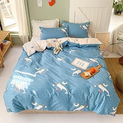 BHUSB Unicorn Fish Print Bedding Duvet Cover Set Twin Cartoon 100% Cotton Blue Marine Organism Teens Boys Reversible Bedding Sets 3 PC Single Bed Comforter Covers with Zipper Closure: Home & Kitchen