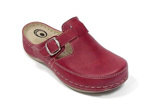 Dr Punto Rosso D235 Komfortschuhe Pantolette Clog Damen, Rot