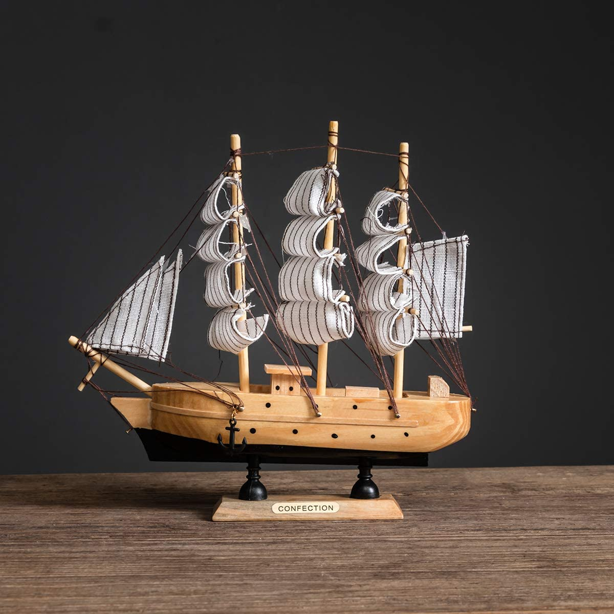 Sailing Ship Model Decor,Wooden Miniature Sailing Boat Model Handmade Vintage Nautical Sail Ship 7.87x1.77x7.87 Inch for Tabletop Ornament, Ocean Theme Home Decor - 15 Colors (A)