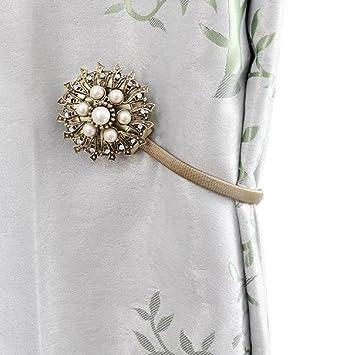 Amazon.de: BIPY Vorhang Raffhalter magnetisch mit Kristall Blume ...