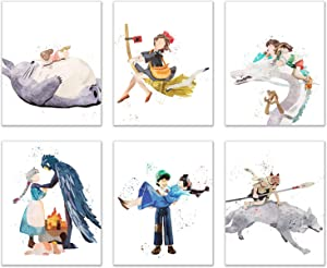 Watercolor Ghibli Movie Prints - Set of 6 (8x10 Inches) Glossy Anime Wall Art Decor - My Neighbour Totoro - Spirited Away - Howl's Moving Castle - Castle in the Sky - Princess Mononoke - Kiki's Delive
