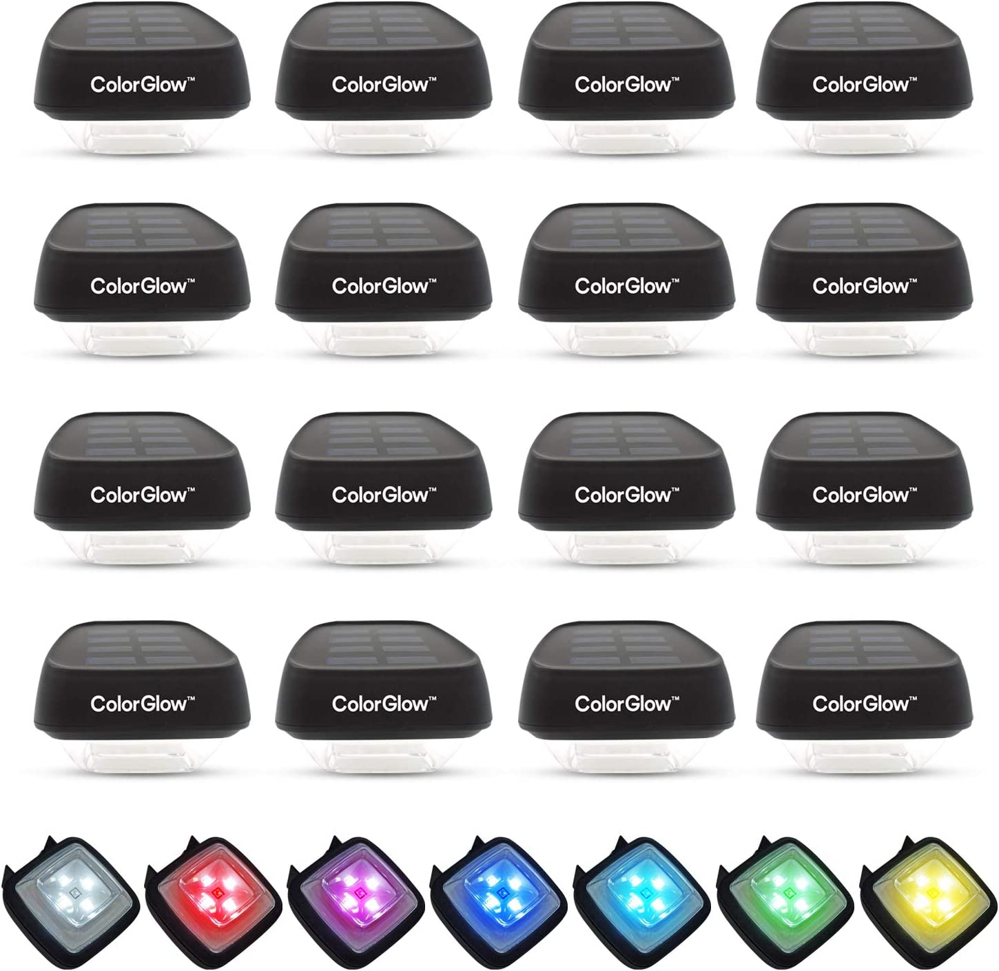 BRIGHTOLOGY ColorGlow Waterproof Outdoor Solar Rainbow Lights (16 Lights) Water Resistant Solar Powered Landscape Lighting for Gutter, Fence, Patio, Garden, Wall, Yard, Attic, or Walkway