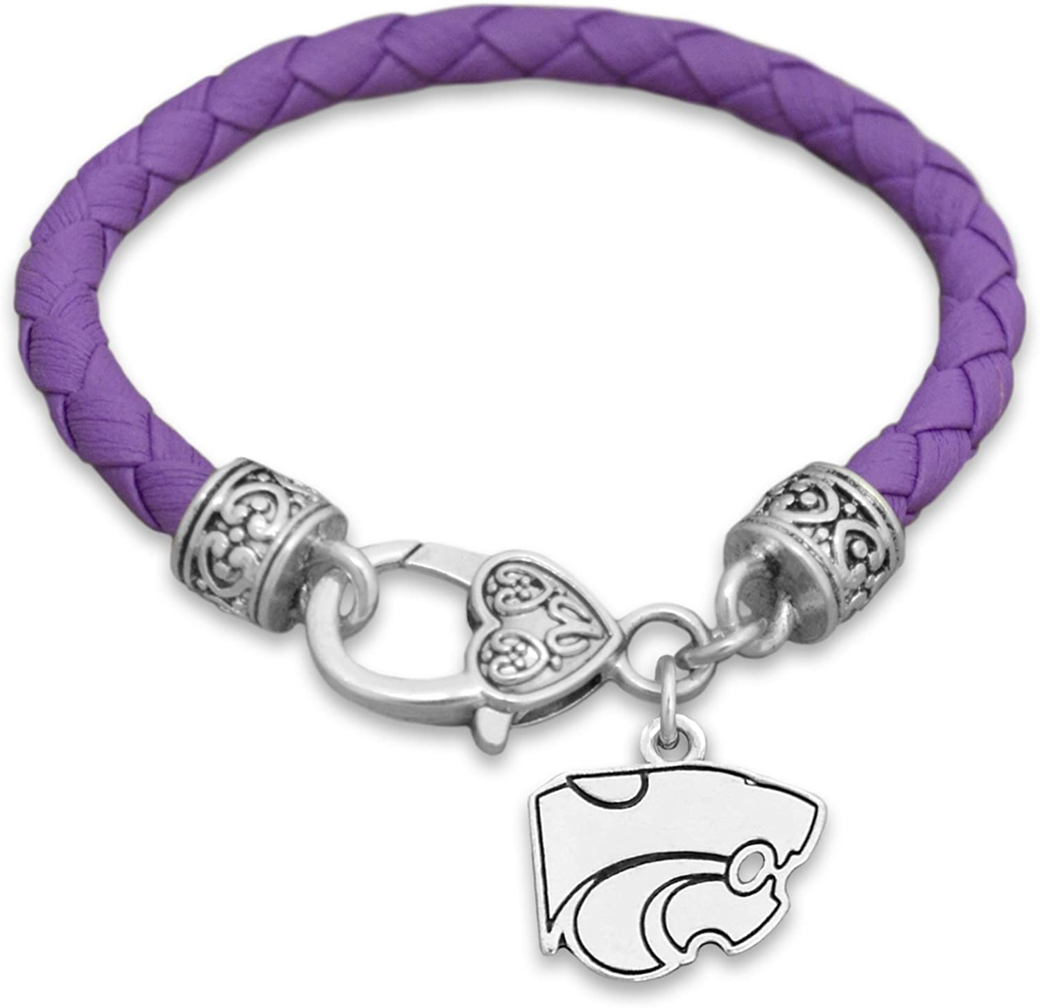 FTH Kansas State Wildcats Leather Bracelet with Logo and Lobster Clasp
