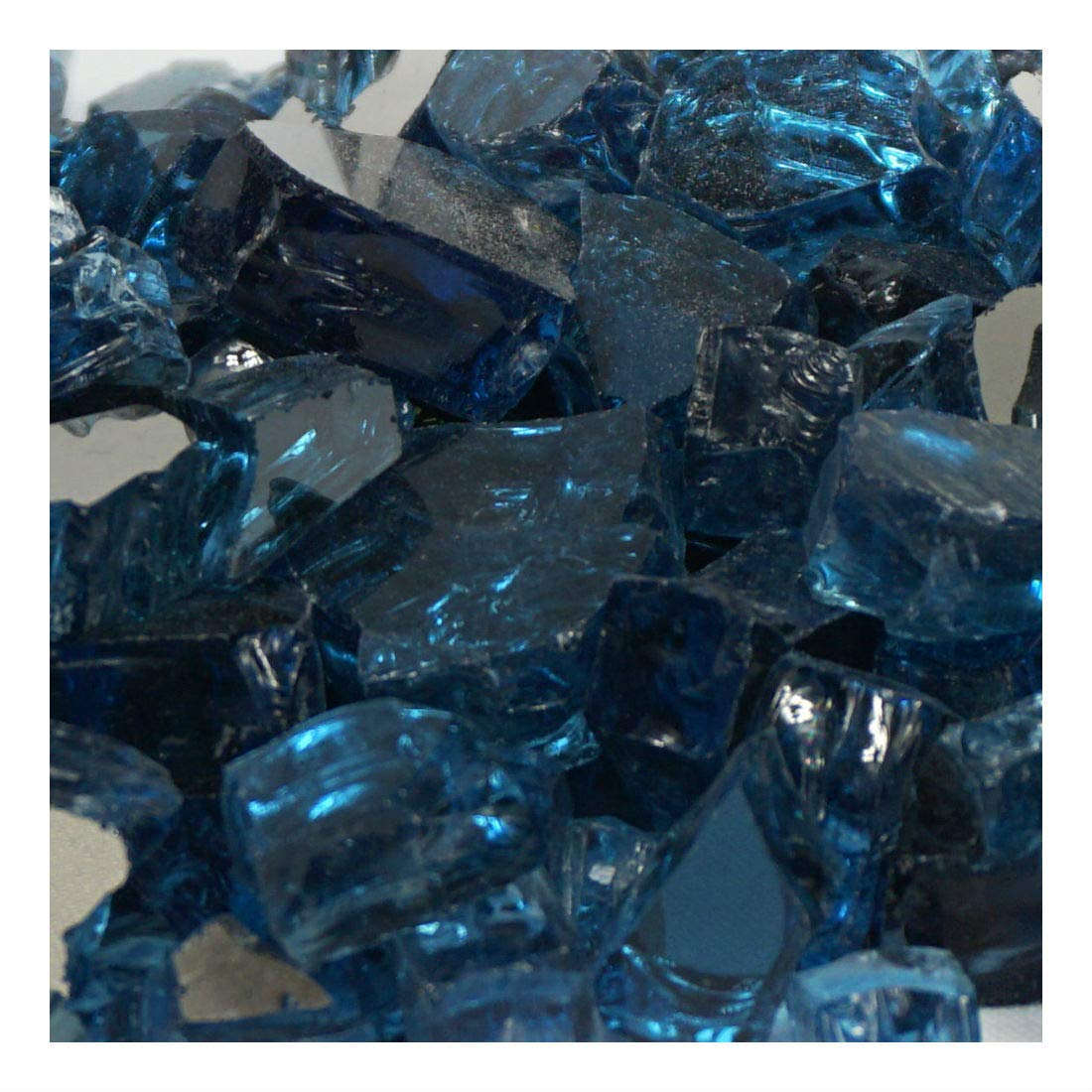 10lbs 1/2 Blue Lagoon Metallic/Pacific Blue Reflective Fire Glass Half Inch not applicable