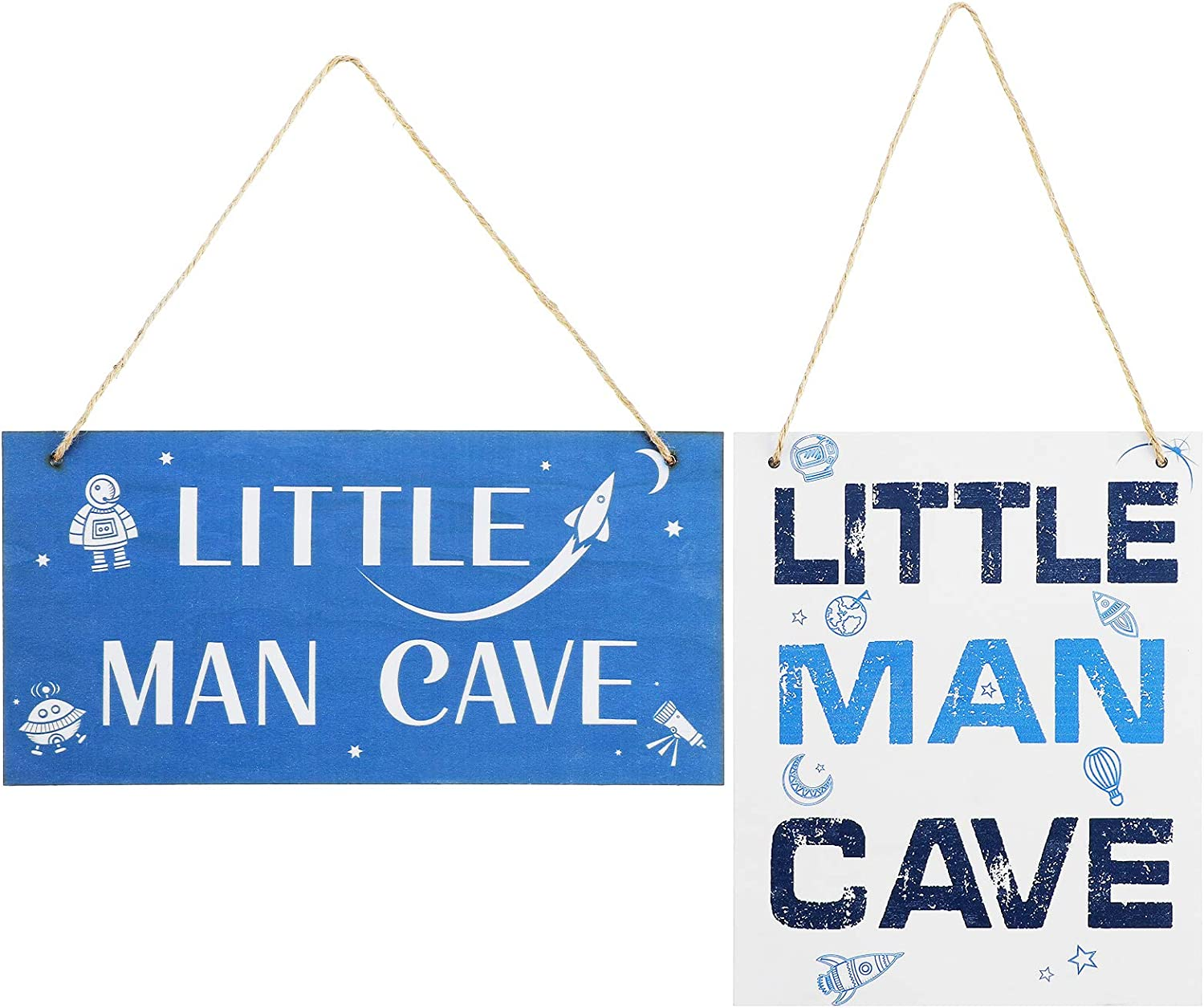 Yulejo 2 Pieces Wood Toddler Boys Room Wall Decor Little Man Cave Sign for Kids Bedroom Nursery Hallways Baby's Boys and Girls Room, 10 x 8 Inch, 12 x 6 Inch (Little Man Cave)
