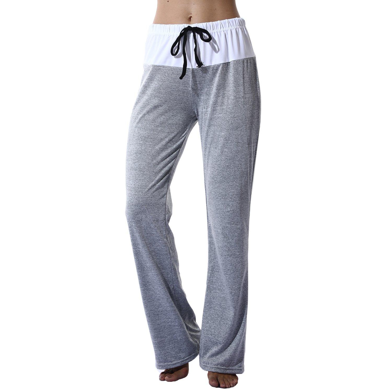 Grey XLarge YOFIT Women Drawstring Wide Leg Flowy Pants Loose Yoga Trousers Casual Baggy