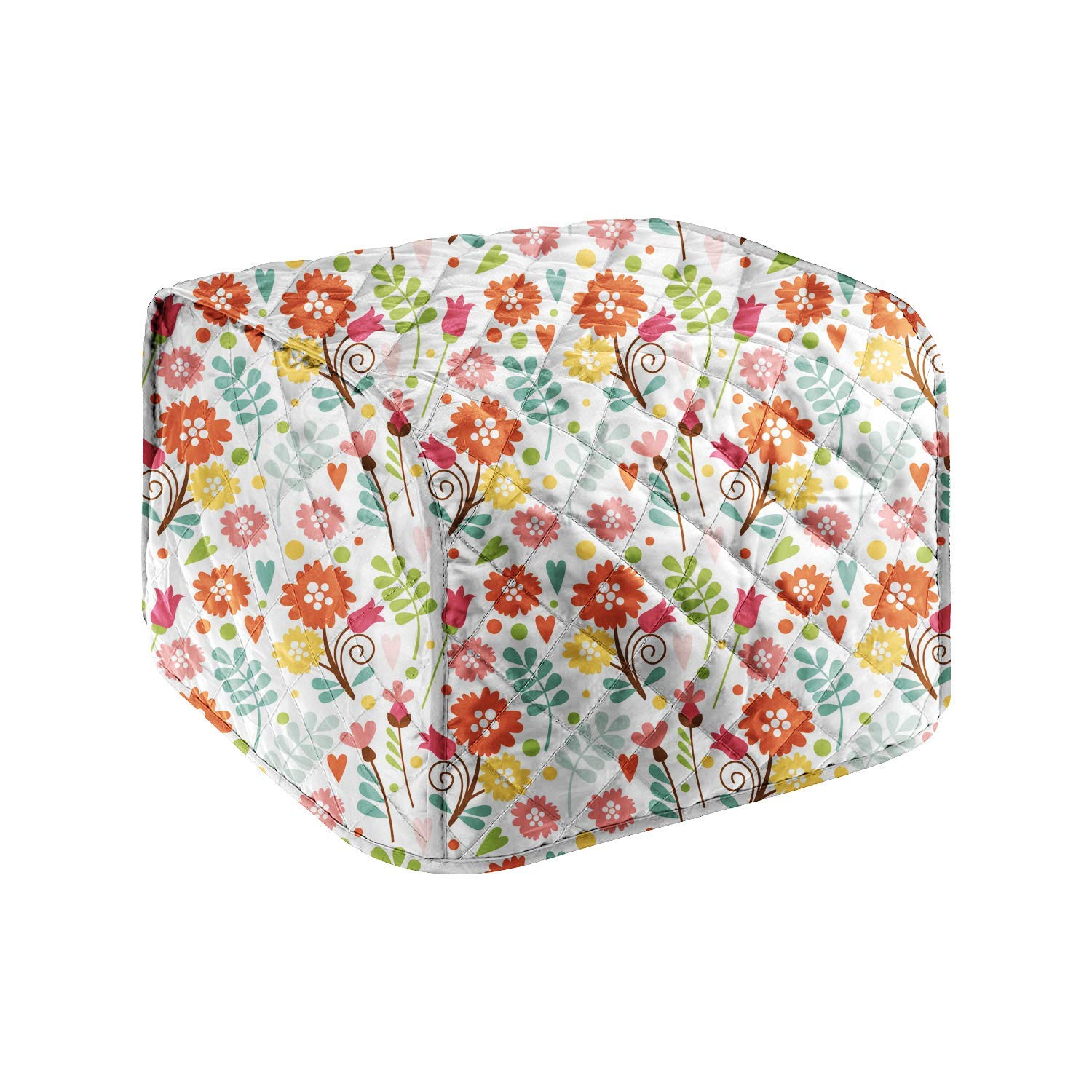 4-Slice Toaster Cover, Cotton Quilted Bread Microwave Toaster Oven Cover Kitchen Small Appliance Cover Bakeware Cover Organizer Bag Anti Fingerprint Protection Durable Bread Machine Cover (Flower#6)