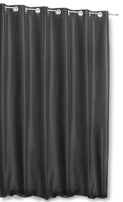 Haus und Deko Thermogardine Wildseide Optik extra breit 245x245 cm blickdicht Ösen anthrazit Vorhang Polar Fleece Übergardine Gardine