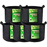 VIVOSUN 5-Pack 30 Gallons Heavy Duty Thickened Nonwoven Fabric Pots Grow Bags with Handles