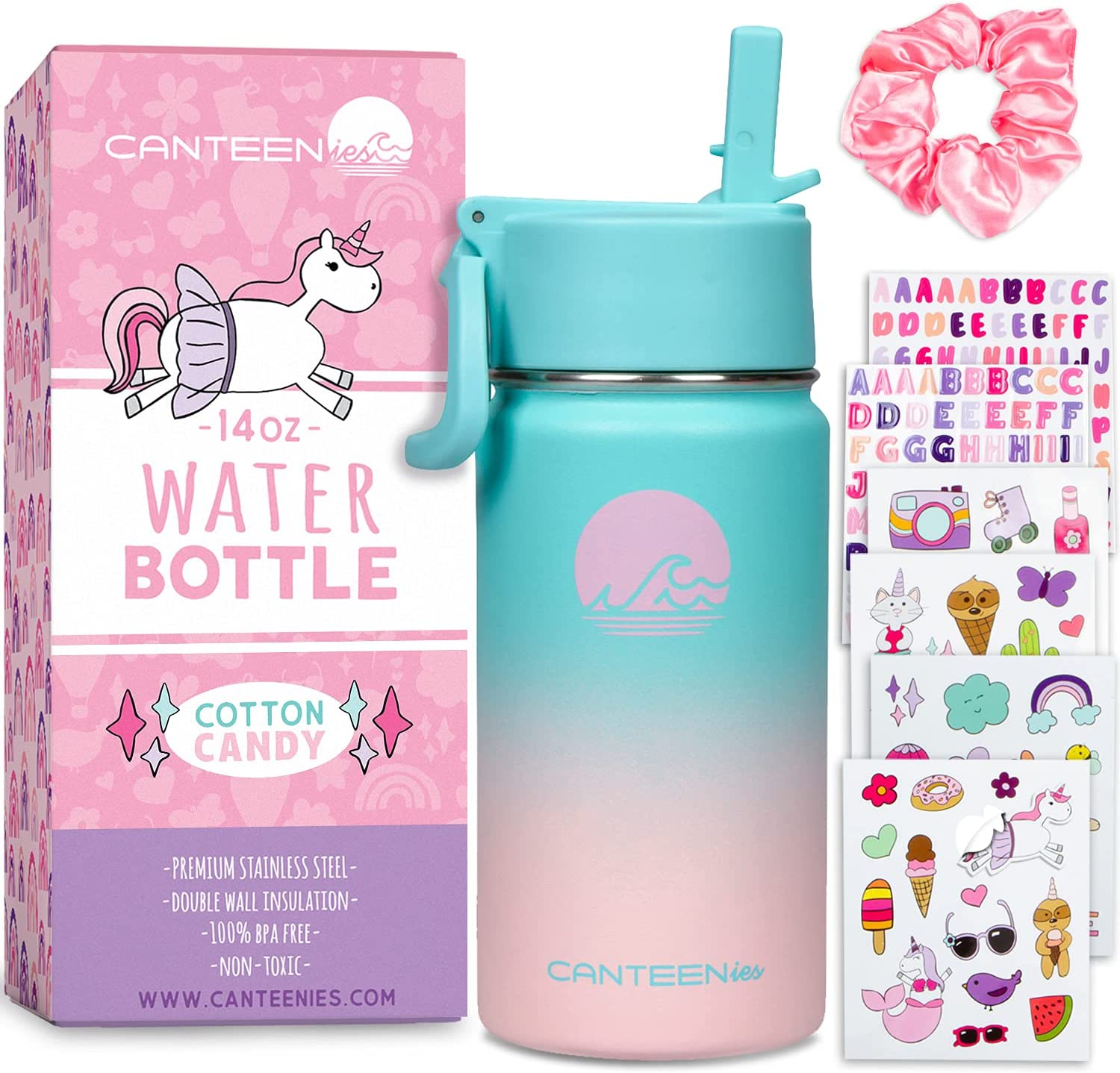 Canteenies Kids Stainless Steel Water Bottle - Vacuum Insulated Water Bottle with Straw, Stickers, and Scrunchies - BPA Free Food-Safe Leak-Proof Lid Tumbler - Cotton Candy Gradient (14 Oz)