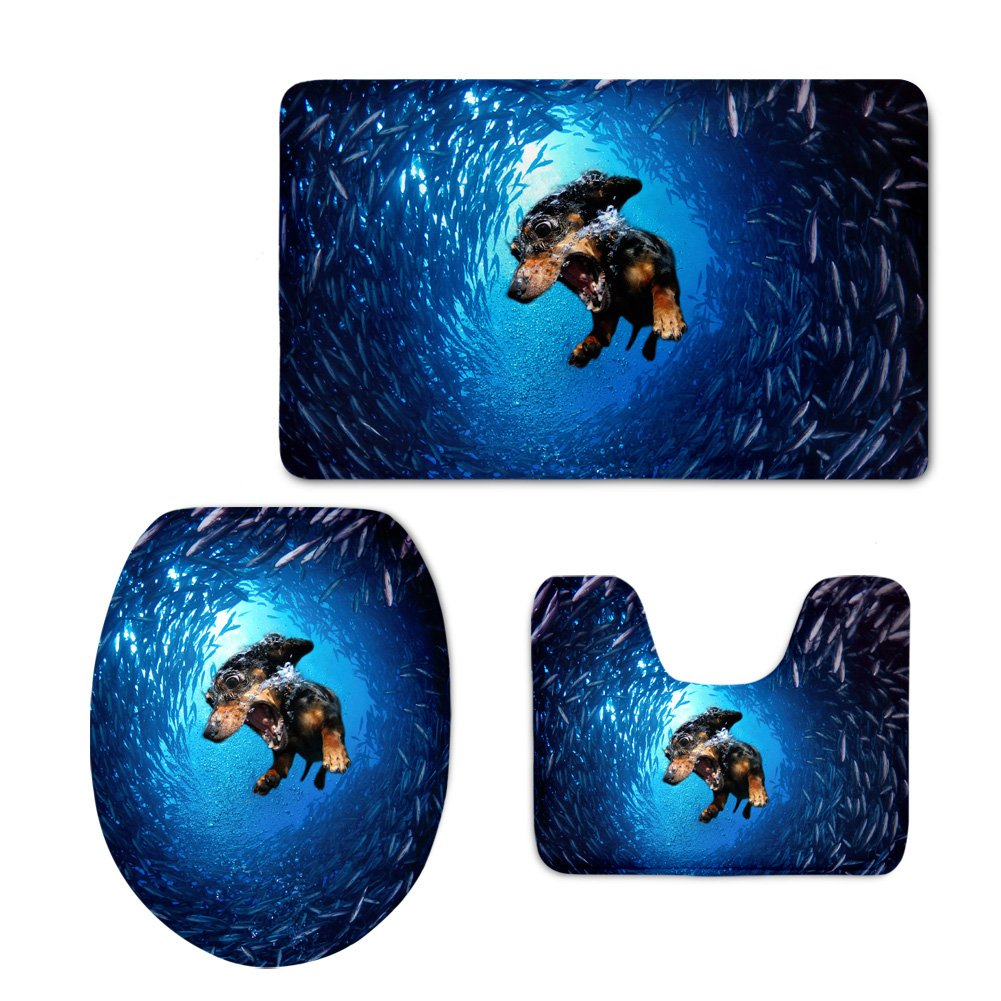 Showudesigns Warmer Printing Animal Dog Toilet Seat Cover Flannel WC Mat