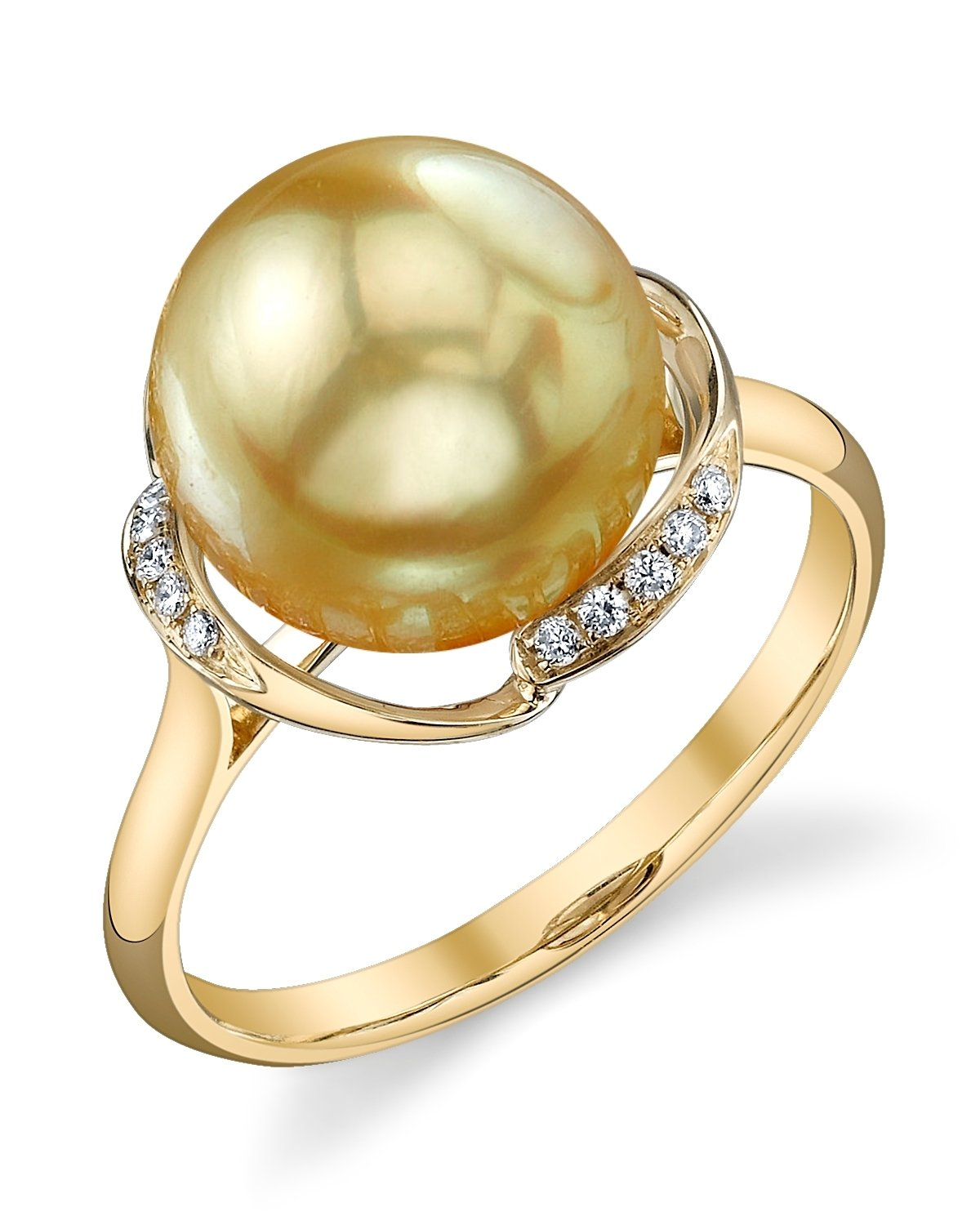 10mm Golden South Sea Cultured Pearl & Diamond Ruby Ring in 14K Gold