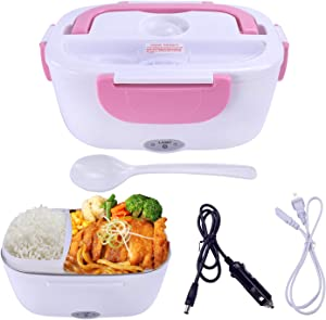 Mozing Electric Lunch Box Protable Food Warmer Heated Lunch Box For Car Truck Home Work Dual Use Removable Stainless Steel Container Multifunction Food Heater Portable Microwave 110V & 12V 40W,Pink