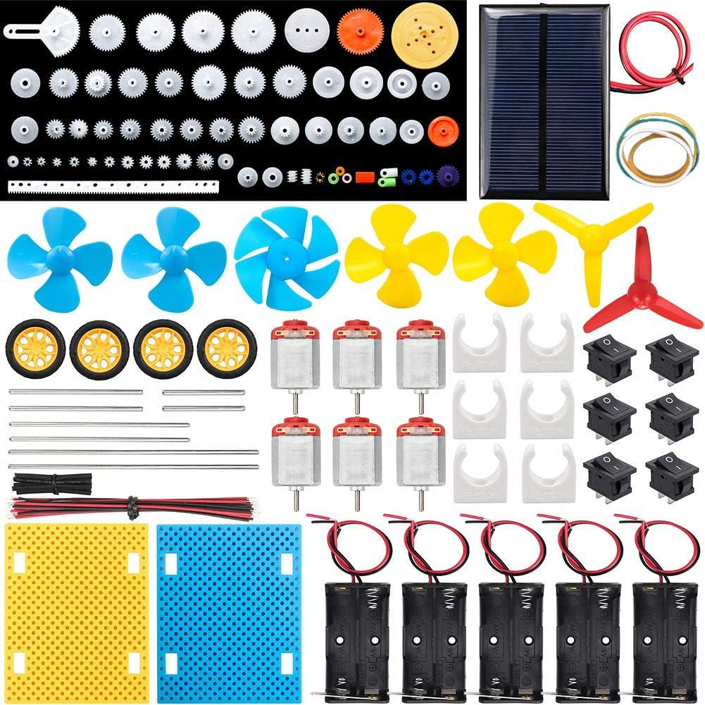 KeeYees Motor CC Kit, Panel Solar, Engranaje de plástico, Hélice, Interruptor Basculante, Porta Batería, Placa de fijación, Rueda de Coche para DIY Proyectos