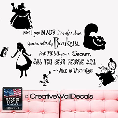 Delicieux Wall Decal Vinyl Sticker Decals Art Decor Design Alice In Wonderland Rabbit  Cat Clock Have You