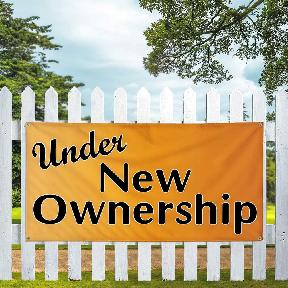 Vinyl Banner Multiple Sizes Under New Ownership Advertising Printing E Business Outdoor Weatherproof Industrial Yard Signs Orange 4 Grommets 24x48Inches