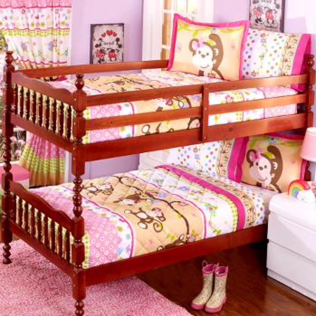 NEW PRETTY COLLECTION LITTLE MONKEY TEENS GIRLS BUNKBED COMFORTER SET 2 PCS TWIN SIZE