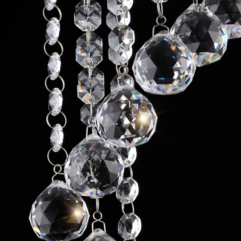 Surpars House Flush Mount 2-Light Crystal Chandelier, Length:15'' Width:7.87'' Height:15.3'',Silver by Surpars House (Image #6)