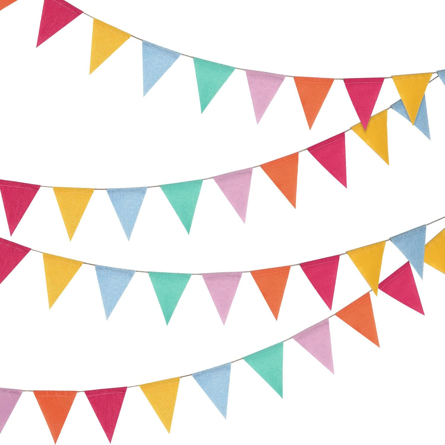 24 Pieces Colorful Pennant Flags Banner Imitated Burlap Bunting Banner Pastel Decor Fabric Triangle Flag for Party Decoration(15.7 Feet)