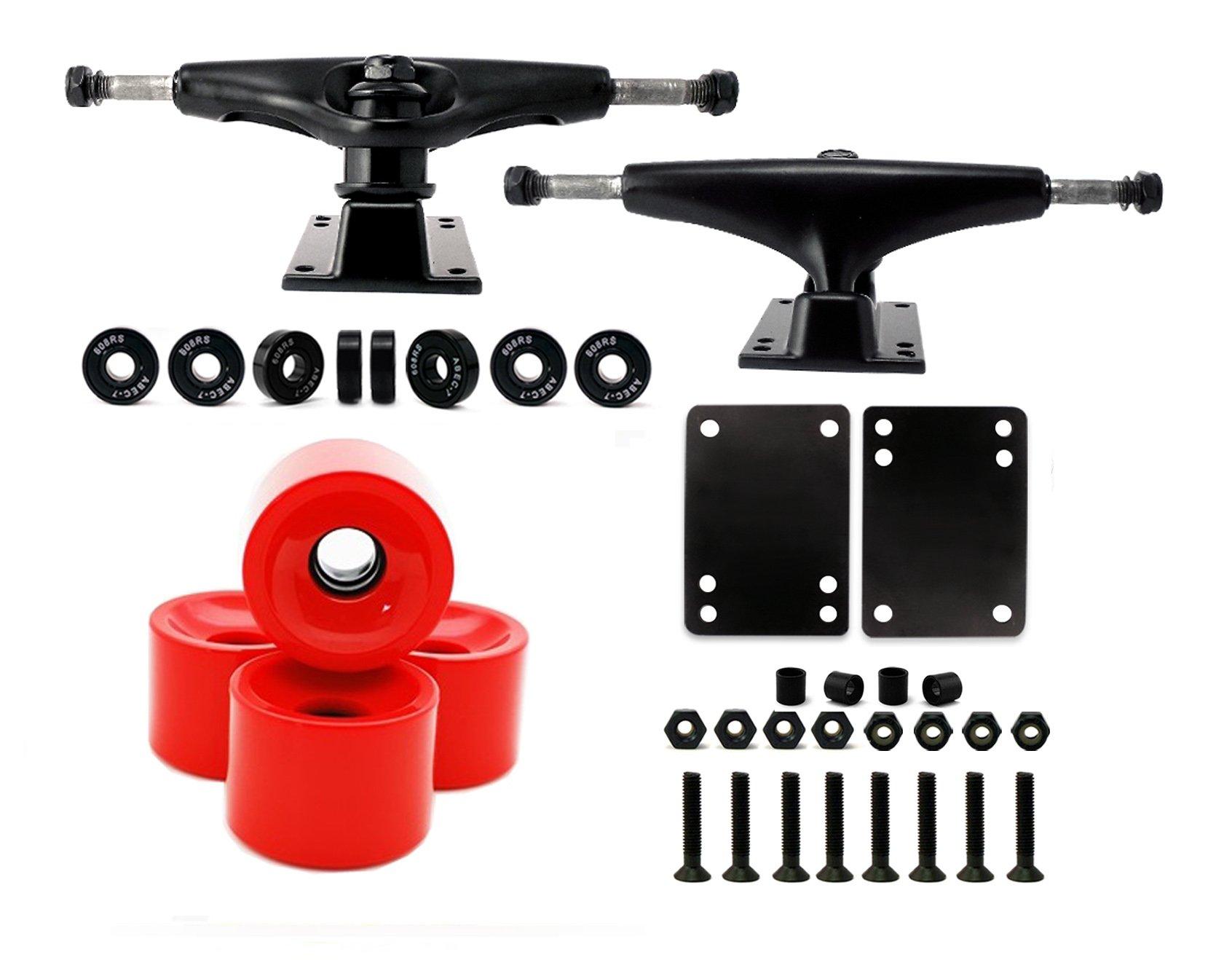 VJ Skateboard Truck and Wheel, 5.0 Skateboard Trucks (Black) w/Skateboard Crusier Wheel 60mm, Skateboard Bearings, Skateboard Screws, Skateboard Riser Pads (red) by VJ