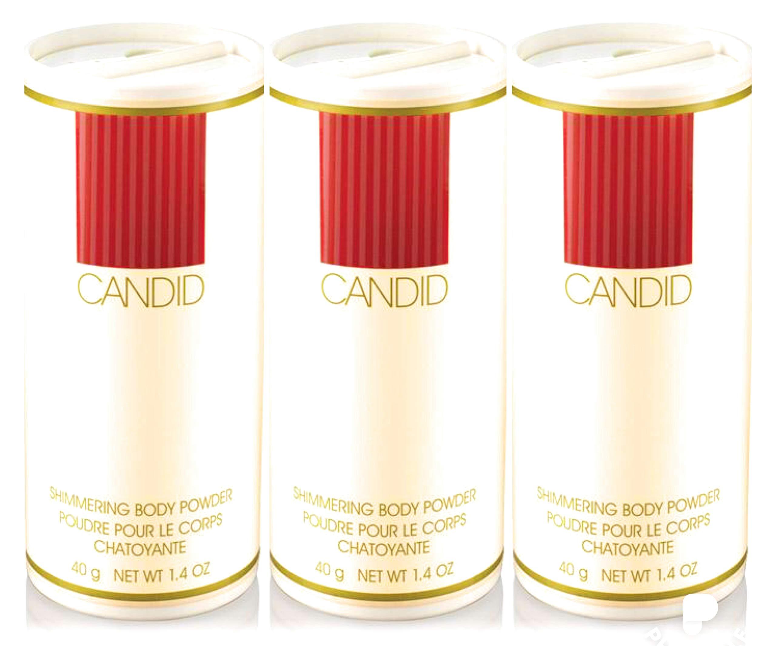 Avon CANDID shimmering body powder talc 1.4 oz each LOT OF 3