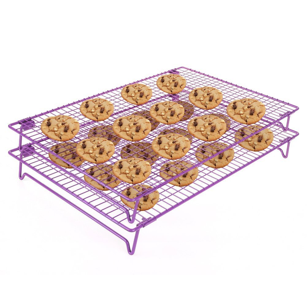 2-Tier Stackable Cooling Rack 17x11'' Cross Grid Heavy Duty Stainless Steel Wire Rack for Cookies Cake Bread Oven Safe for Cooking Roasting Grilling Baking with 4 Stable Legs, Cookies Recipe Included