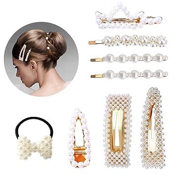 9149f2454b0a0 Pearl Hair Clip - 8PCS Pearl Hair Barrettes Pins for Women Girls Pearls Hair  Accessories for