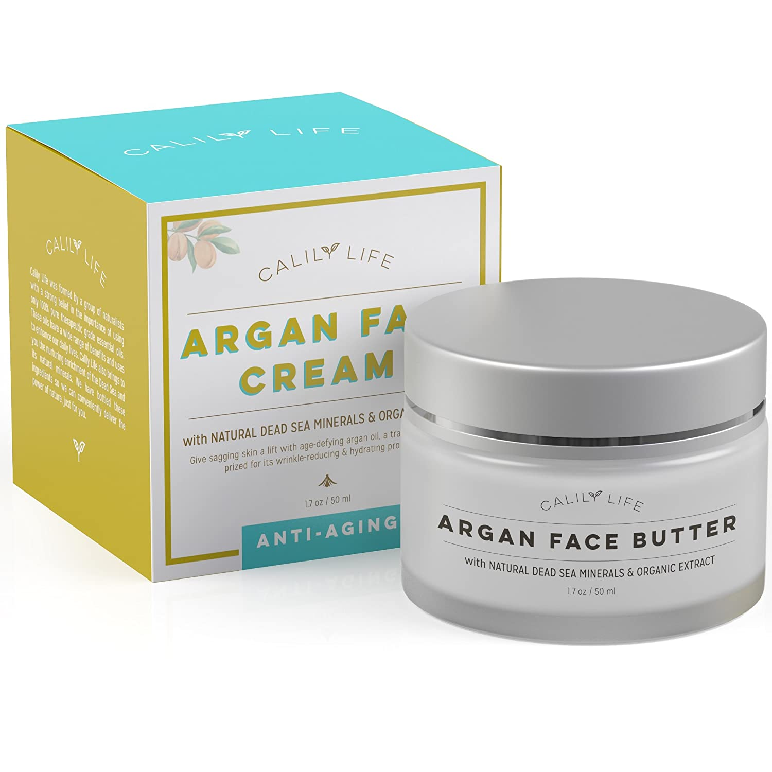 Calily Life Organic Argan Face Cream with Dead Sea Minerals, 1.7 Oz. Ultra-Hydrating – Anti-Wrinkle and Anti-Aging – Smooths, Moisturizes and Regenerates