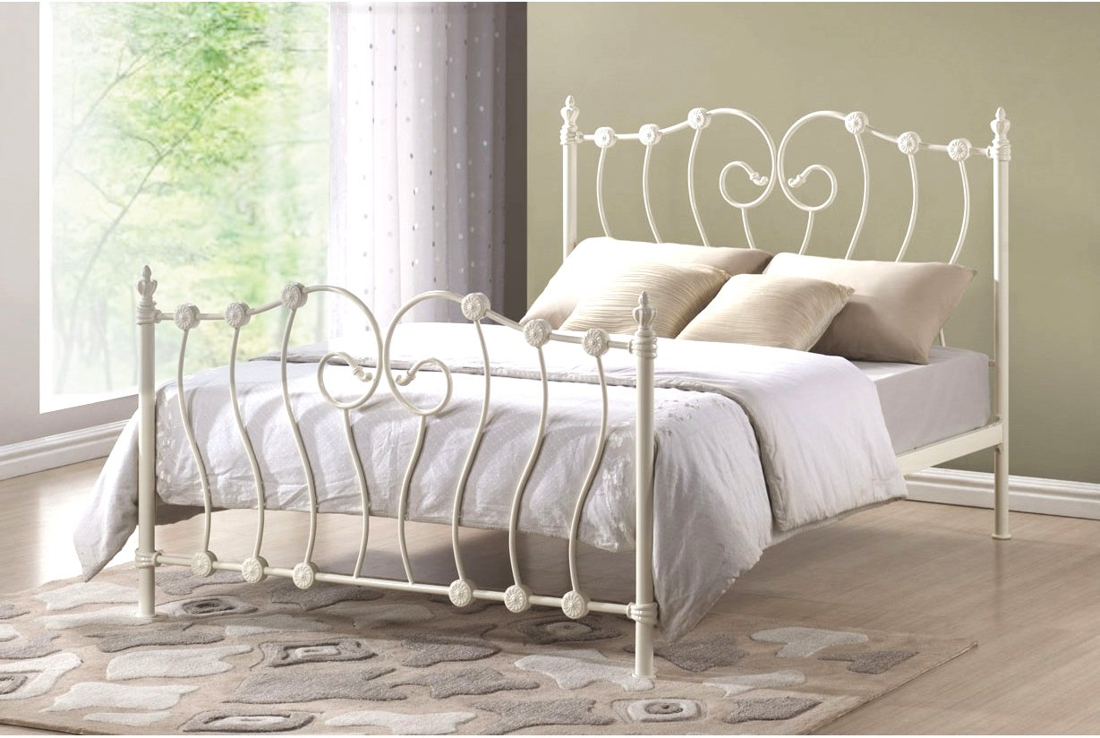 Victorian French 4ft6 Double Ivory White Metal Bed Frame Amazon Co