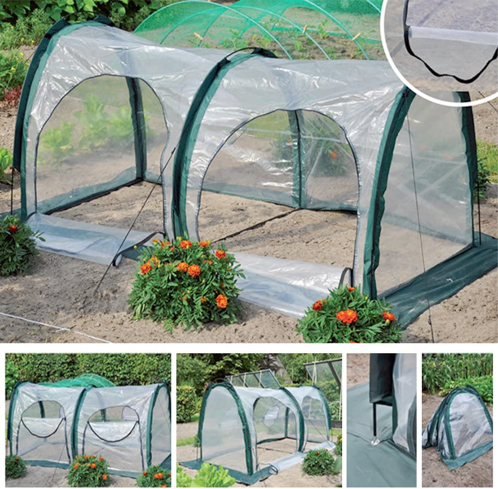 Garden Plant Tent, FOME PE Plant Tunnel Waterproof Durable Cloche Greenhouse for Plants Outdoor Portable Greenhouses with Two Zipper Doors Backyard Flower Shelter 78.8×39.4×39.4 inch