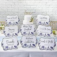 Kate Aspen Juego de 8 letreros decorativos de sauce azul, talla única, color azul
