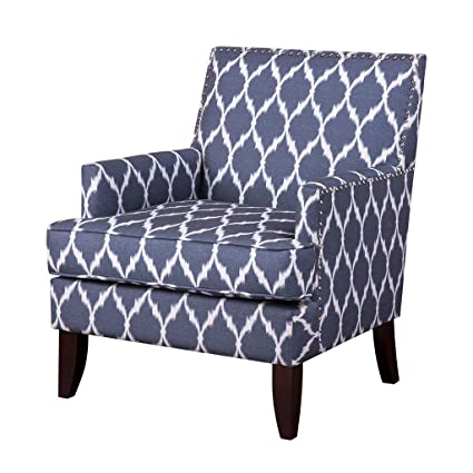 Contemporary Blue White Ikat Quatrefoil Print Upholstered Accent Armchair  With Dark Wood Legs And Nailhead Trim