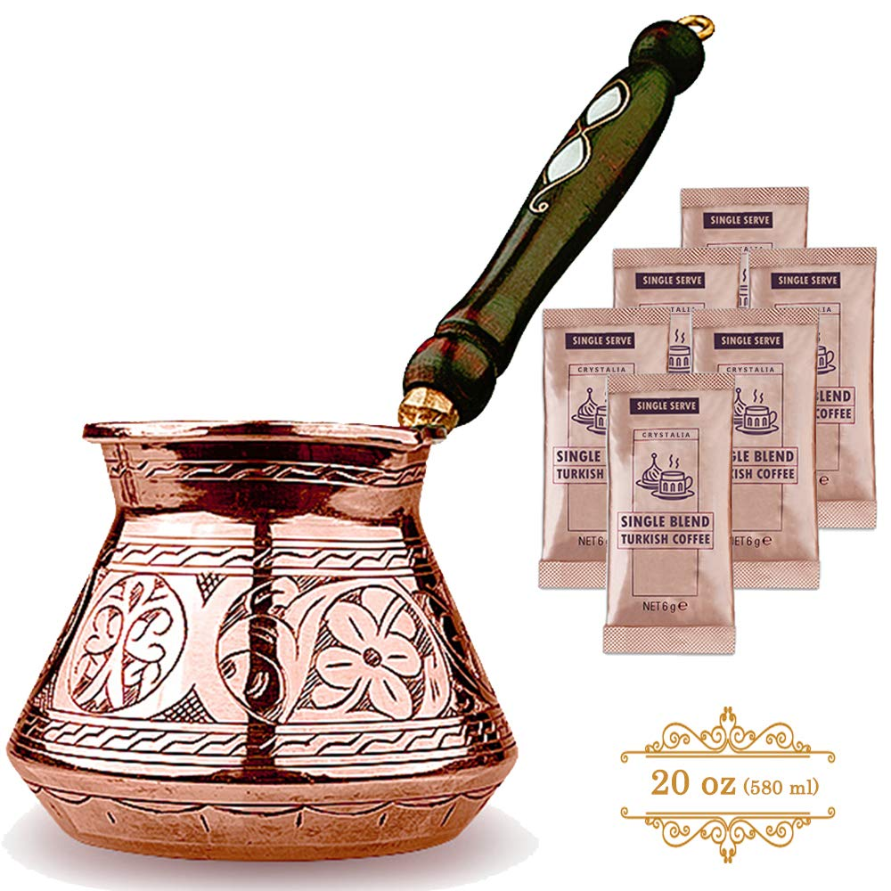 Turkish Coffee Pot, Greek Arabic Coffee Maker, Stove Top Thickest Solid Hammered and Engraved Copper Coffee Cezve with Premium Wooden Handle (20 fl oz)