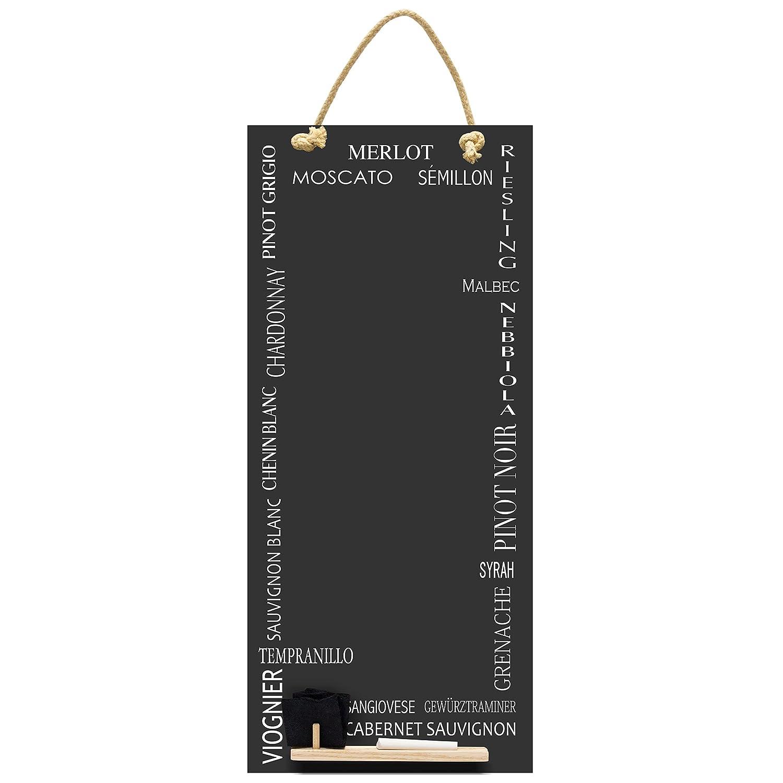 Chalkboards UK da Vino Alti Sottile Lavagna/Lavagna/memo Board con Corda da Cucina, Vassoio e Gesso. Cabine Design Range, Legno, Nero, 60x 26.5x 1cm Porter & Woodman CHB152