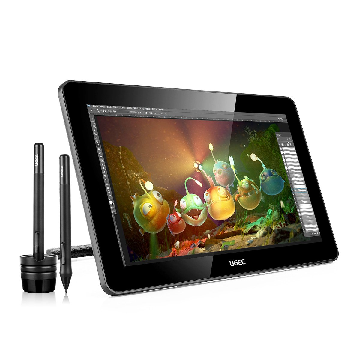 Ugee 15.6 Inches HK1560 IPS Display Graphics Monitor Drawing Pen Tablet with 2x Rechargeable Pen P50S