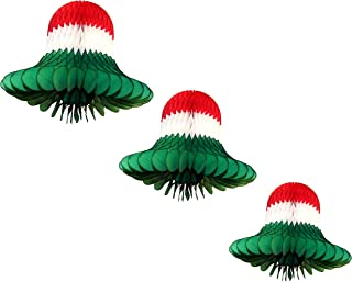 product image for Red, White, and Green Striped Honeycomb Tissue Bell Decorations, Set of 3 (15 inch, 11 inch, 9 inch)