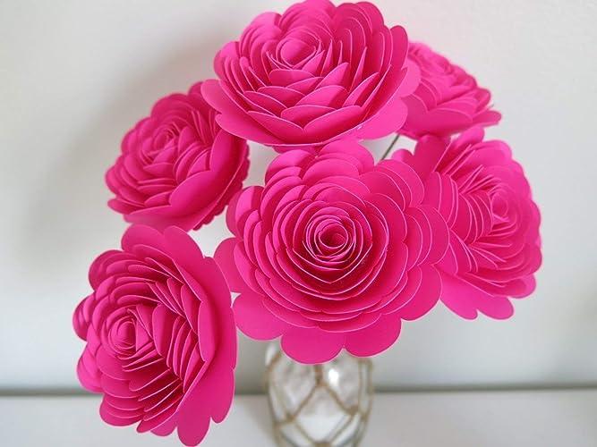 Amazon Fuchsia Paper Roses On Stems Set Of 6 Large 3 Flowers