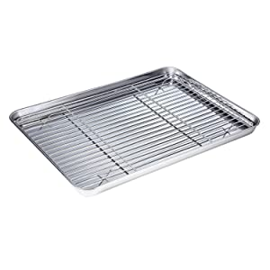 Stainless Steel Baking Sheet with Rack Set Tray Cookie Sheet & Oven Pan (Size 16 x 12 x 1 inch, Non Toxic & Healthy, Rust Free & Less Stick, Thick & Sturdy, Easy Clean & Dishwasher Safe)