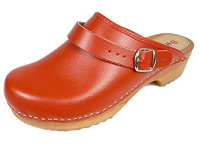 Men s Women s Unisex Natural Leather Wooden Clogs with Buckle Back ... 98cb42921