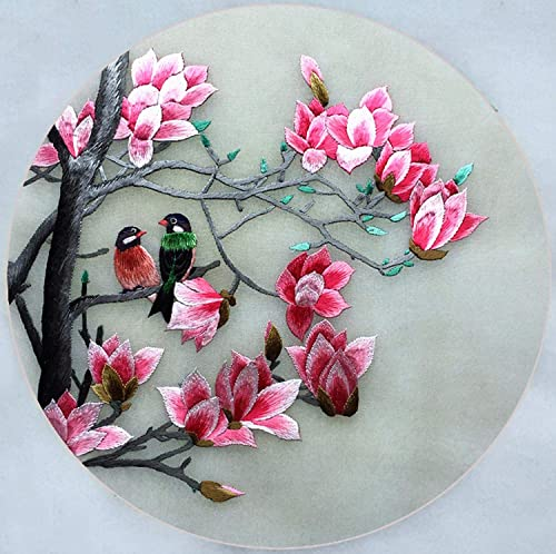 Handicrafts Chinese Suzhou Silk Embroidery Wall Hanging Framed, Two Birds on Plum Trees Painting Needle and Thread Painting for Living Room , Fashion Creative Furnishing Gift SilkArt0 SilkArt038